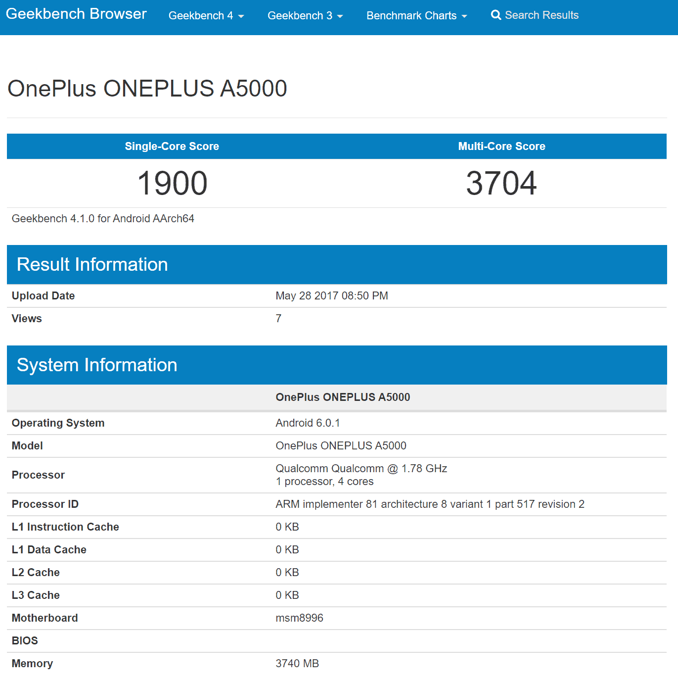 OnePlus A5000 Geekbench Results 1