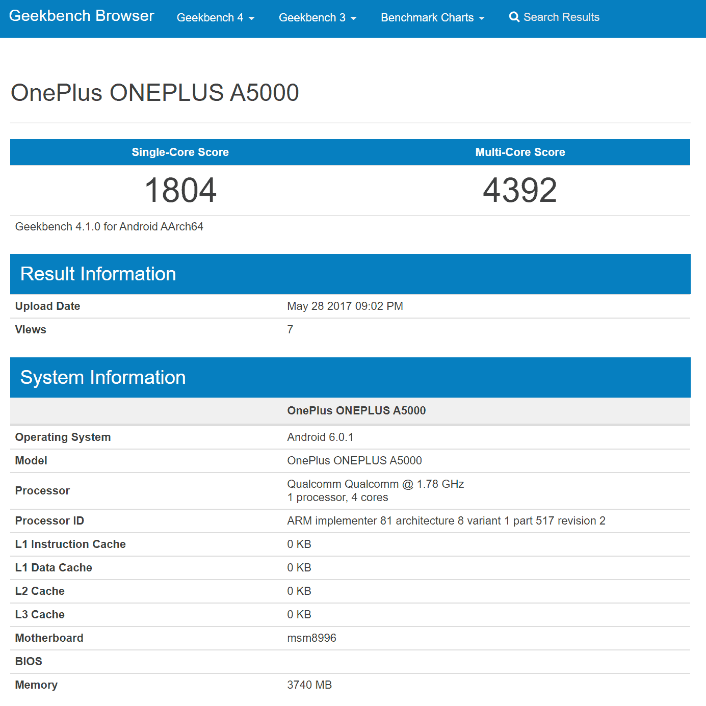 OnePlus A5000 Geekbench Results 3