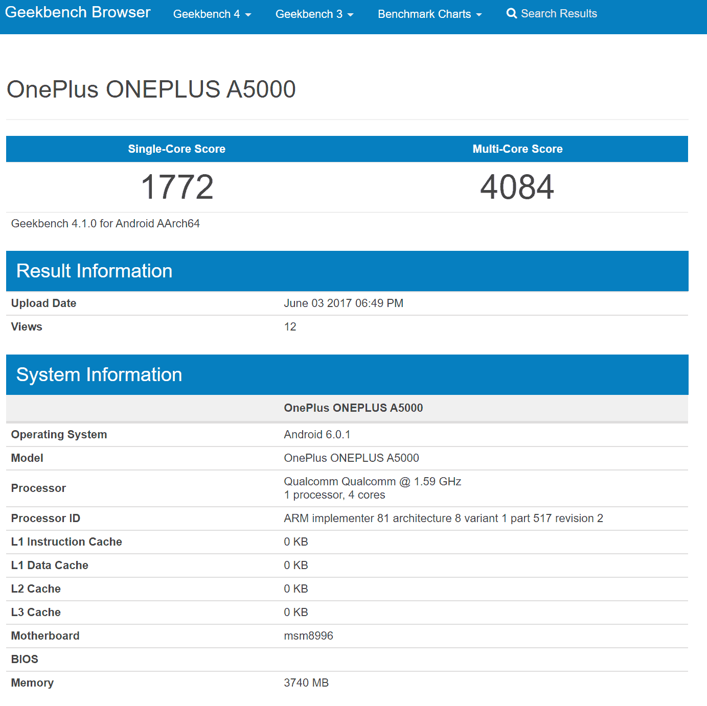 OnePlus A5000 Geekbench Results 4