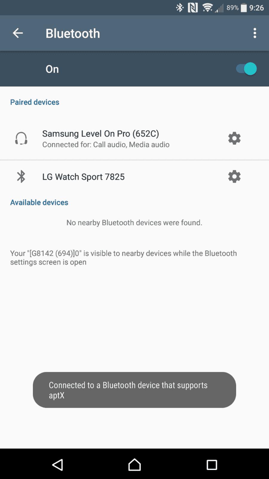 Sony Xperia XZ Premium AH NS Screenshots audio aptx