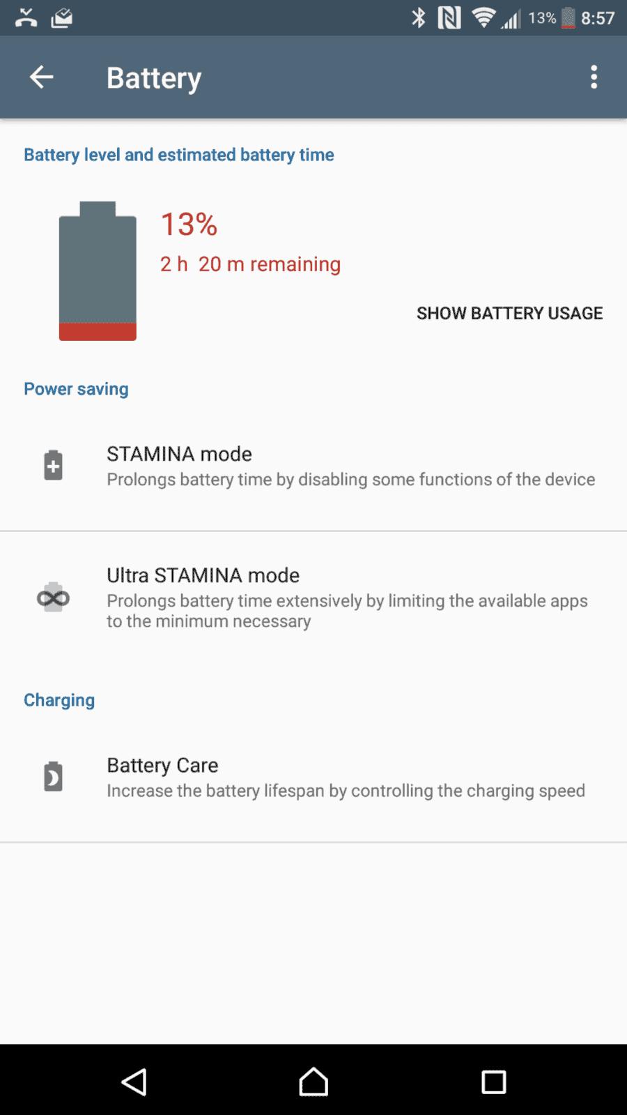 Sony Xperia XZ Premium AH NS Screenshots battery overview
