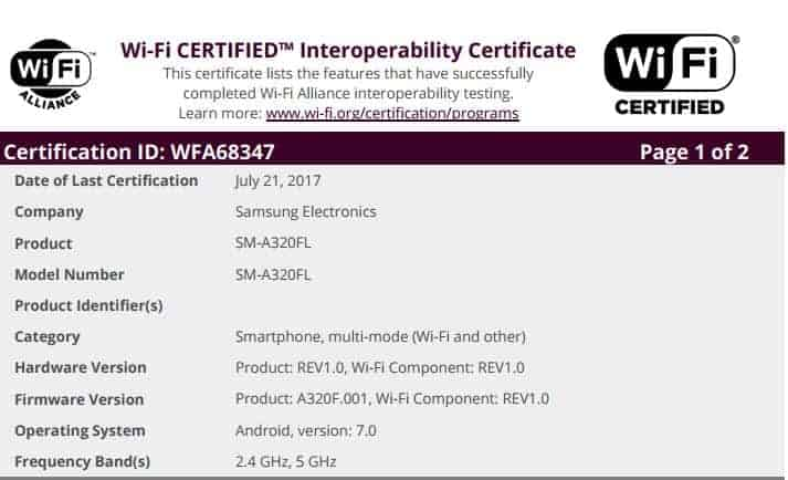 Galaxy A3 2017 WiFi Android 7