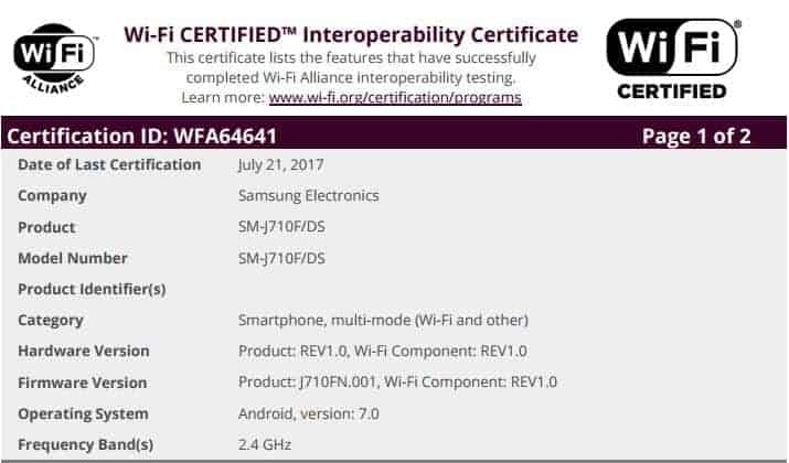 Galaxy J7 2016 WiFi Android 7