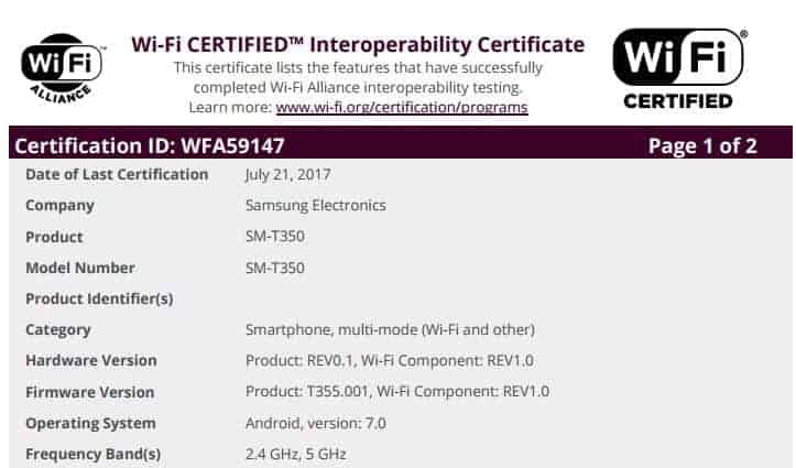 Galaxy Tab A 8 WiFi Android 7