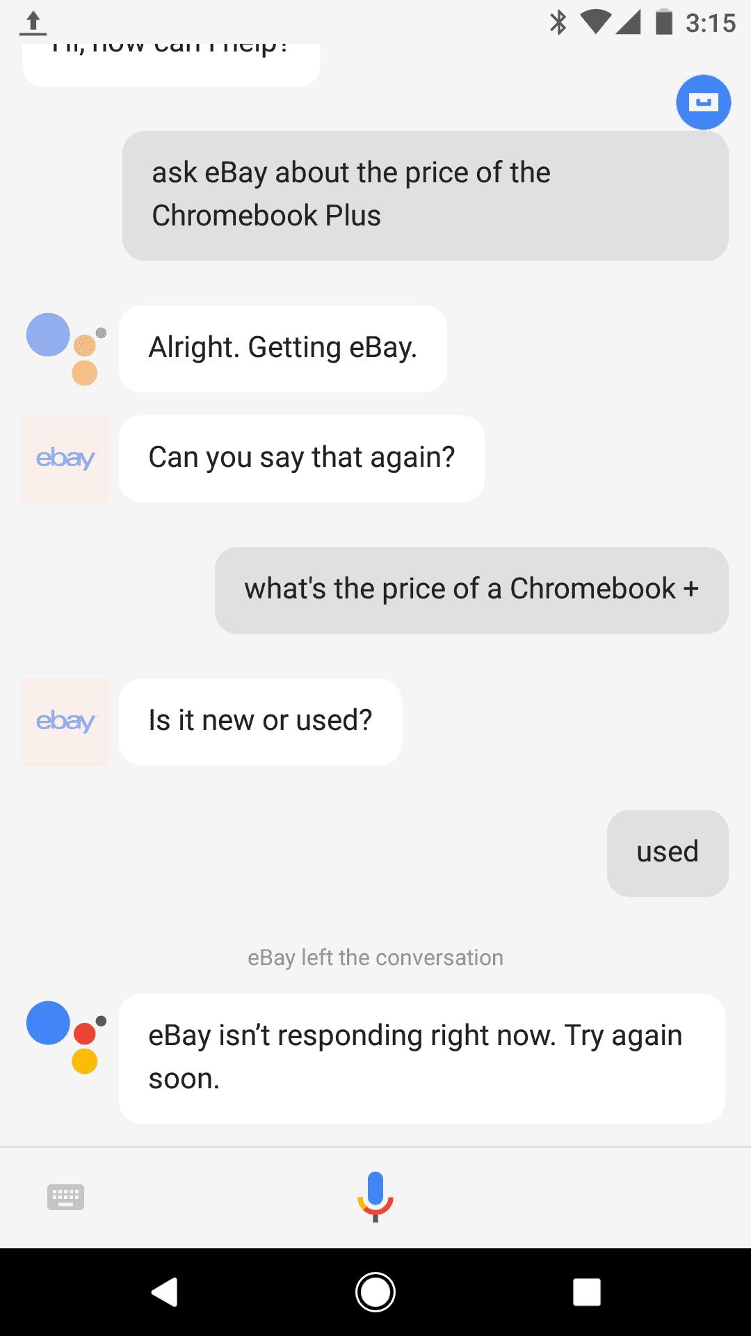 Google Assistant eBay Chatbot 1