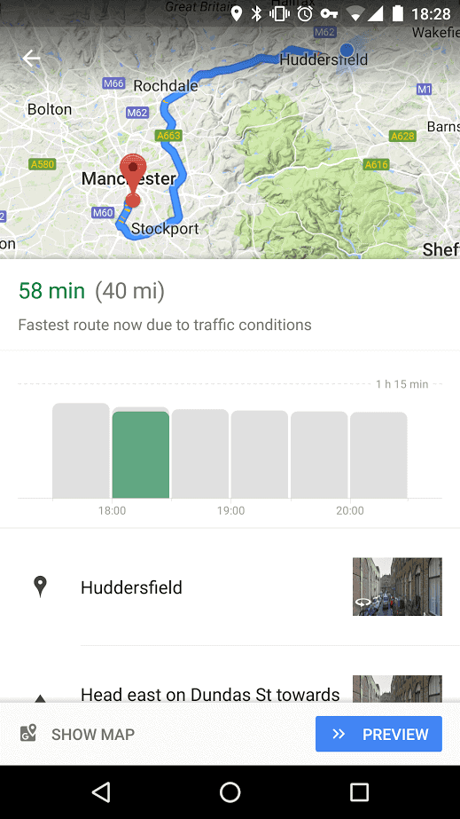 Google Maps Travel Time Graph 1