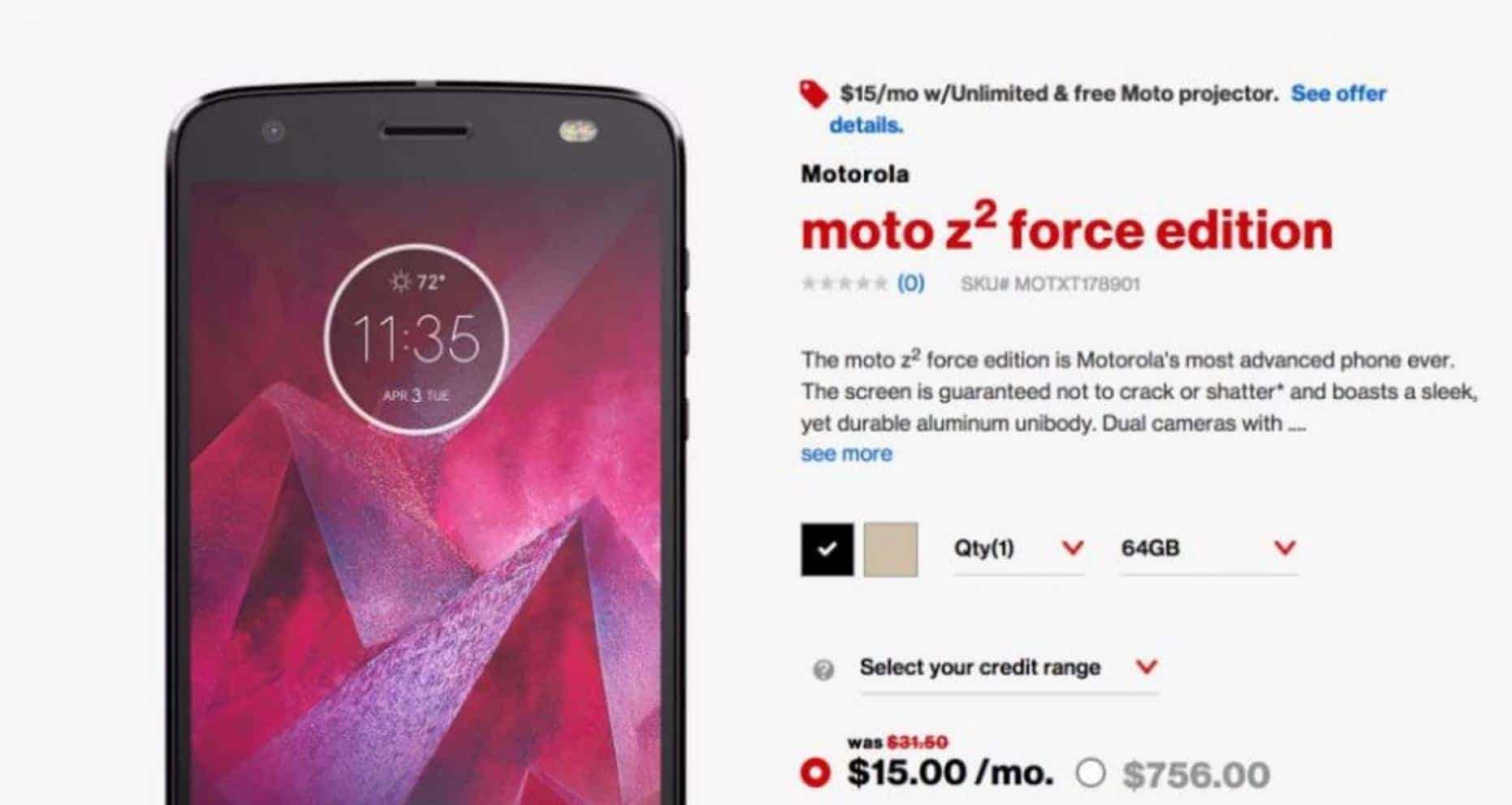 motorola z2 force. shop related products motorola z2 force m
