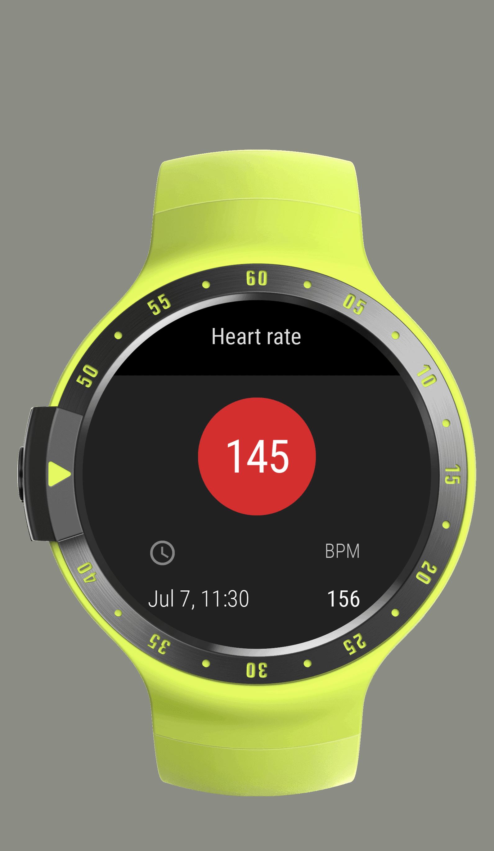 Sport yellow heart rate app