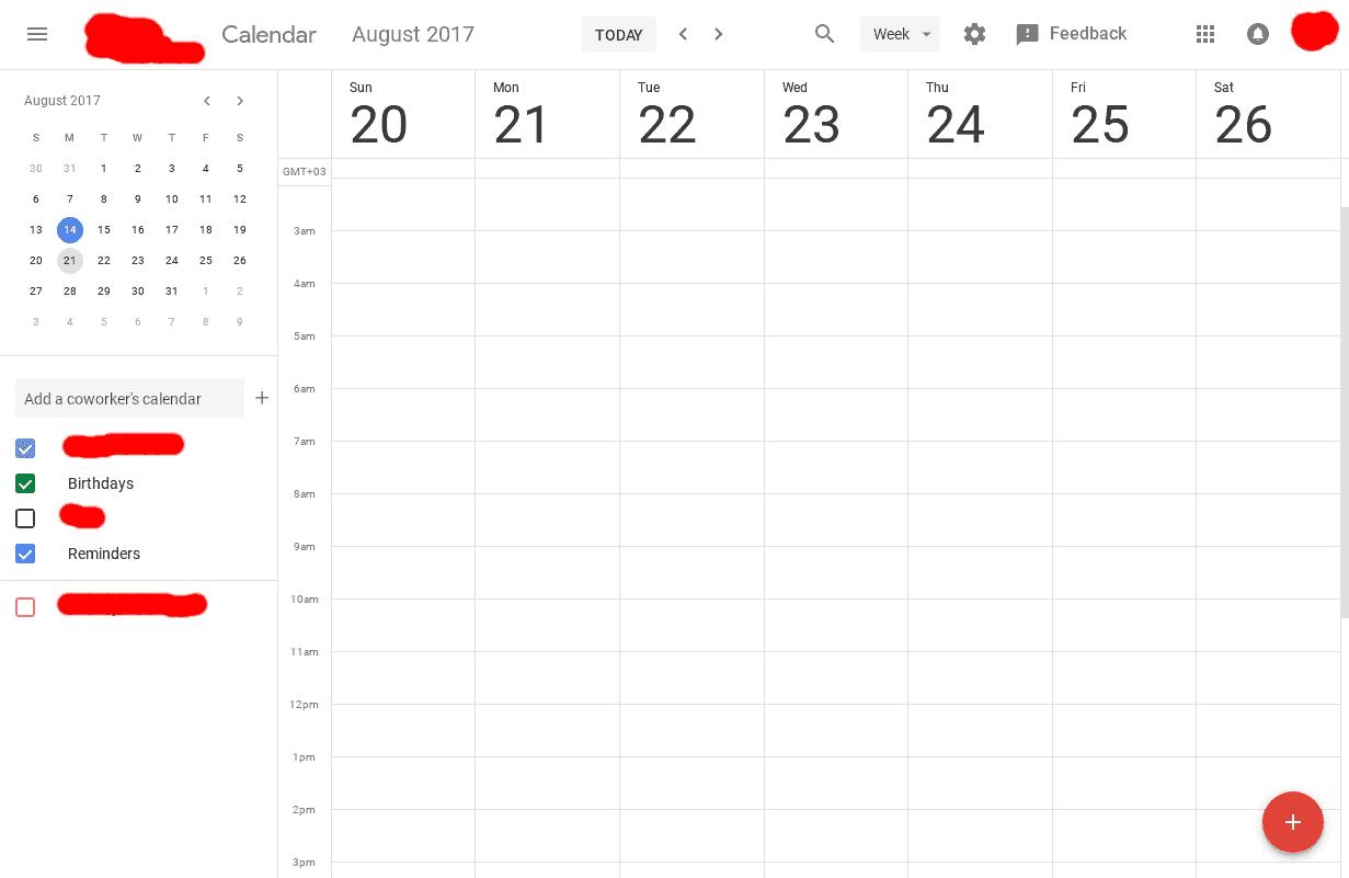 Google Calendar Web Material Design UI 3
