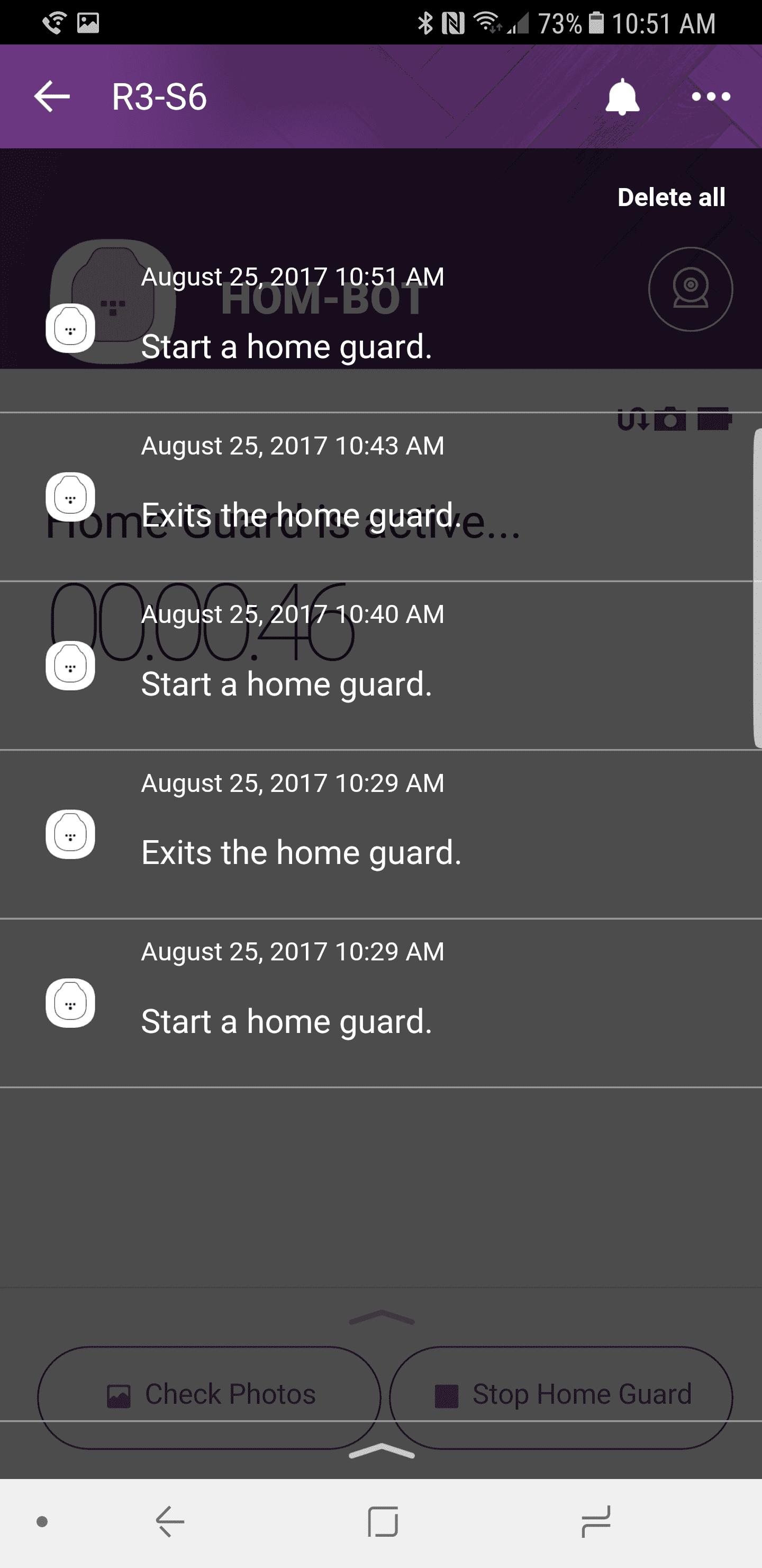 LG HomBot Turbo Plus AH NS app notifications
