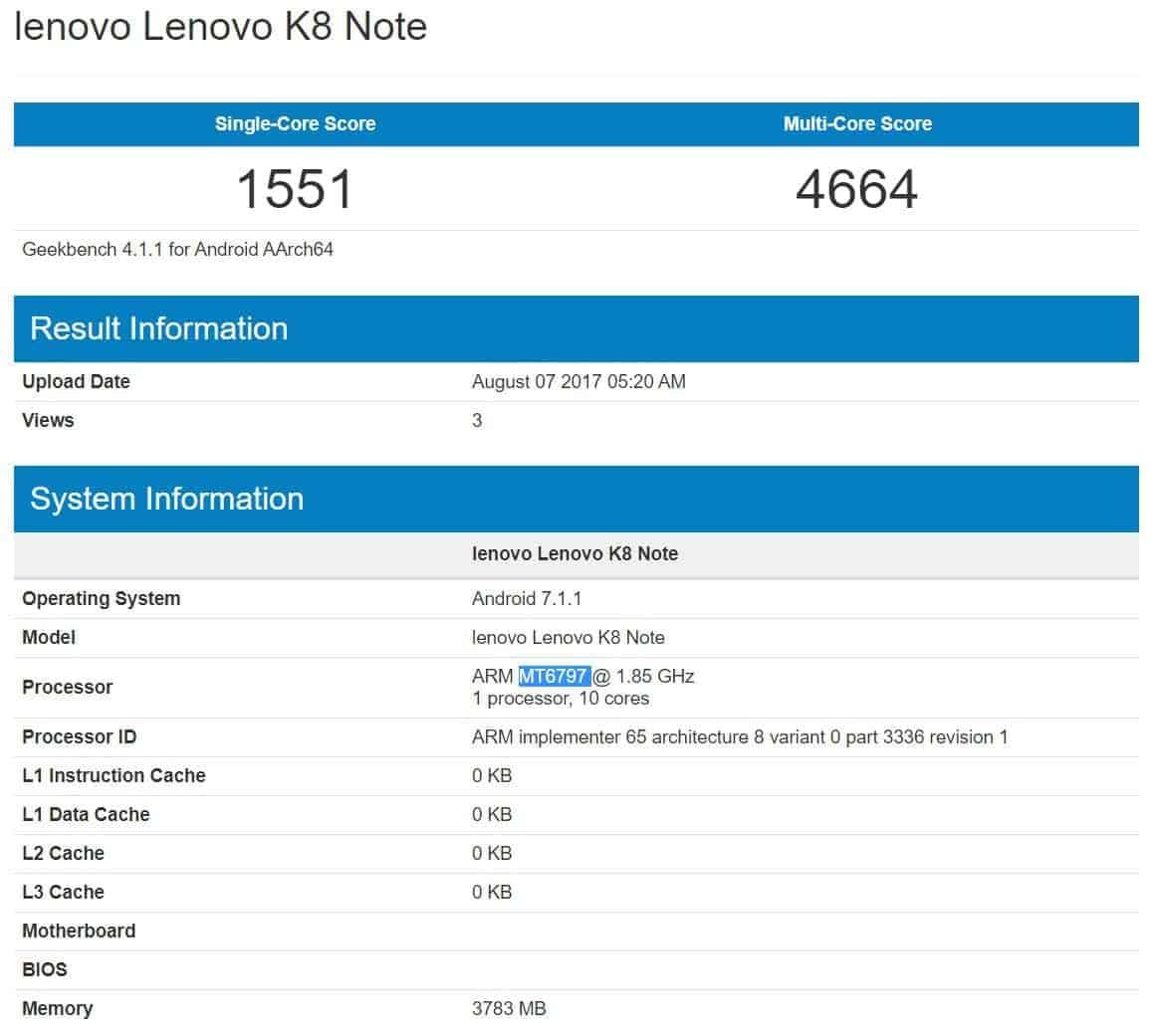 Lenovo K8 Note Geekbench
