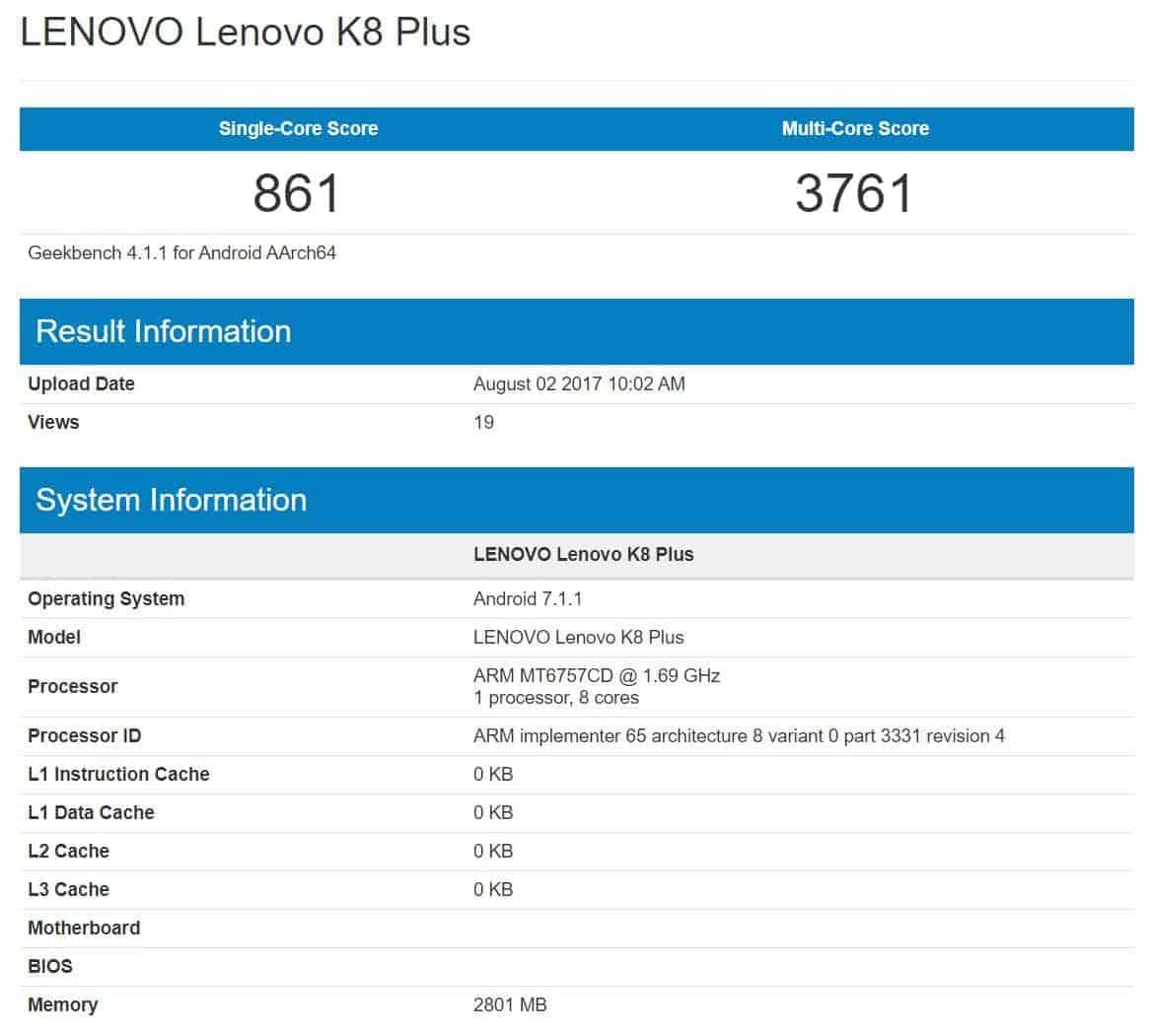 Lenovo K8 Plus Geekbench