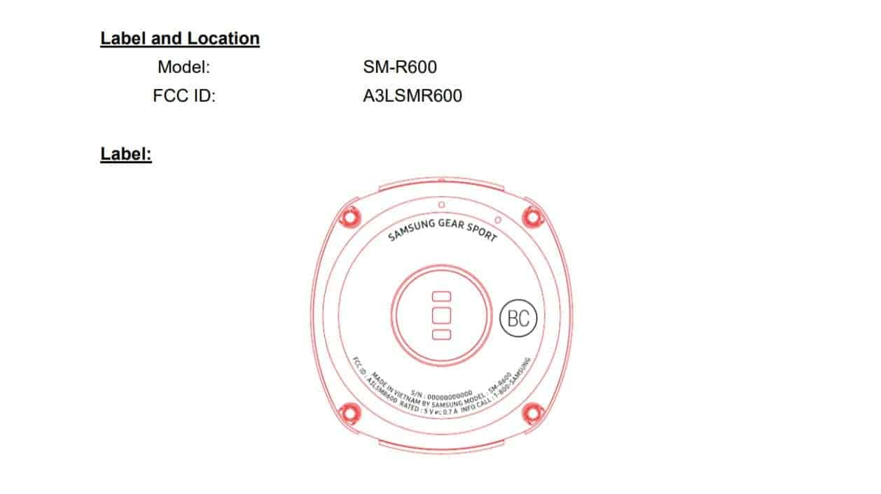 Samsung Gear Sport FCC Label and Identification 01