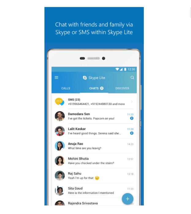 skype lite android app adds sms support and sms insights. Black Bedroom Furniture Sets. Home Design Ideas