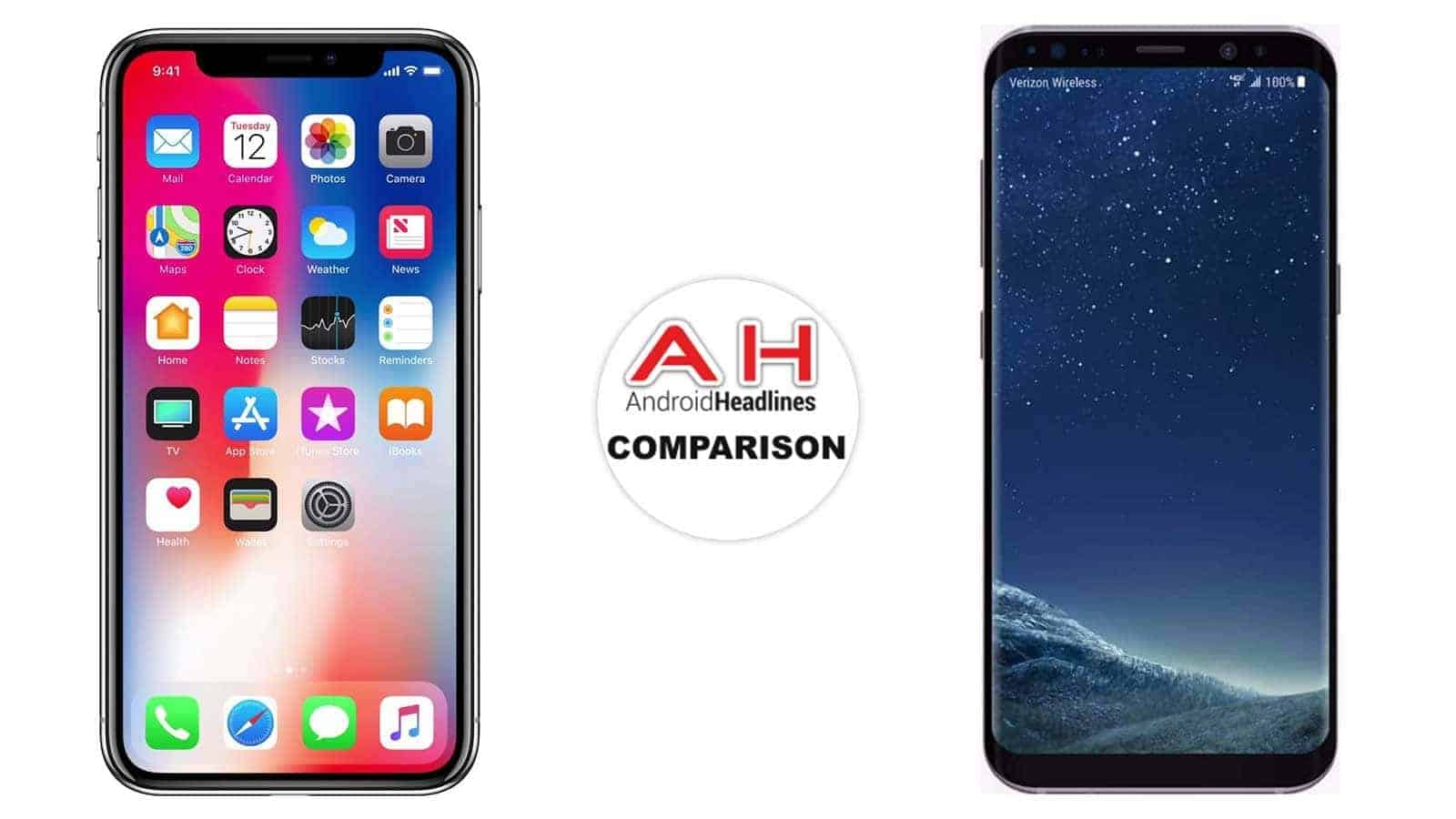 samsung iphone. phone comparison: apple iphone x vs samsung galaxy s8 | androidheadlines.com iphone