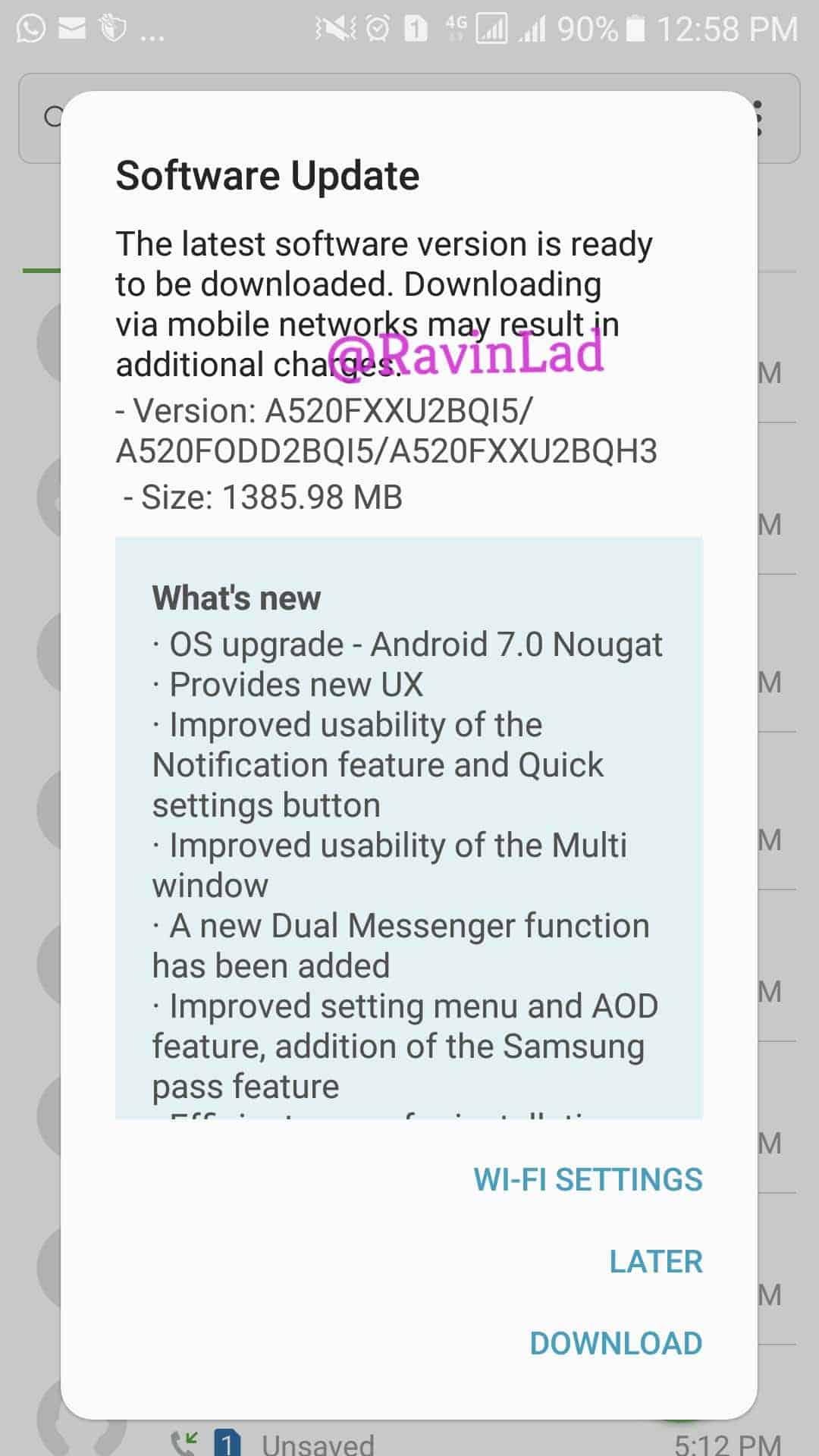 Galaxy A5 A7 2017 Nougat Update India 1