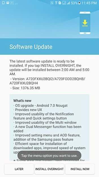 Galaxy A5 A7 2017 Nougat Update India 2