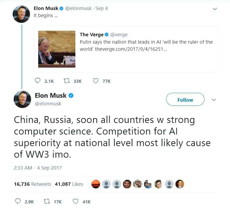 Musk AI WorldWar3 Tweet 01