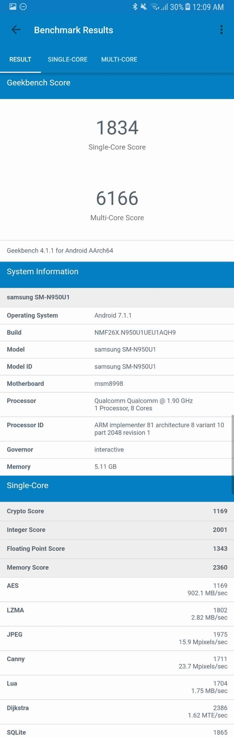 Samsung Galaxy Note 8 AH NS Screenshots benchmarks 3