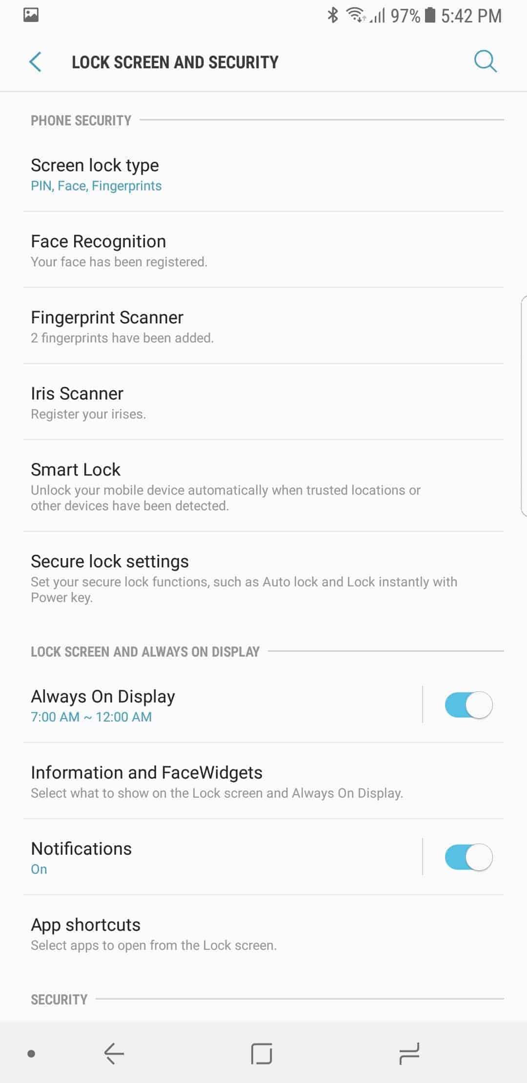 Samsung Galaxy Note 8 AH NS Screenshots security 6