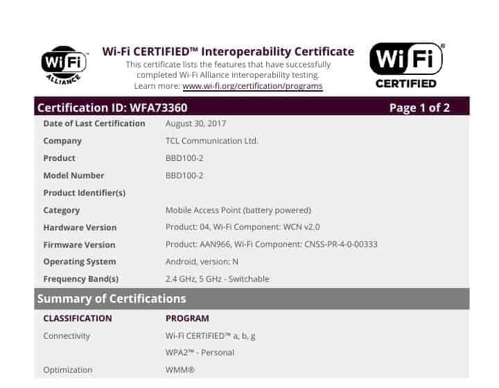 WiFi Certificate WFA73360 BlackBerry Krypton 2