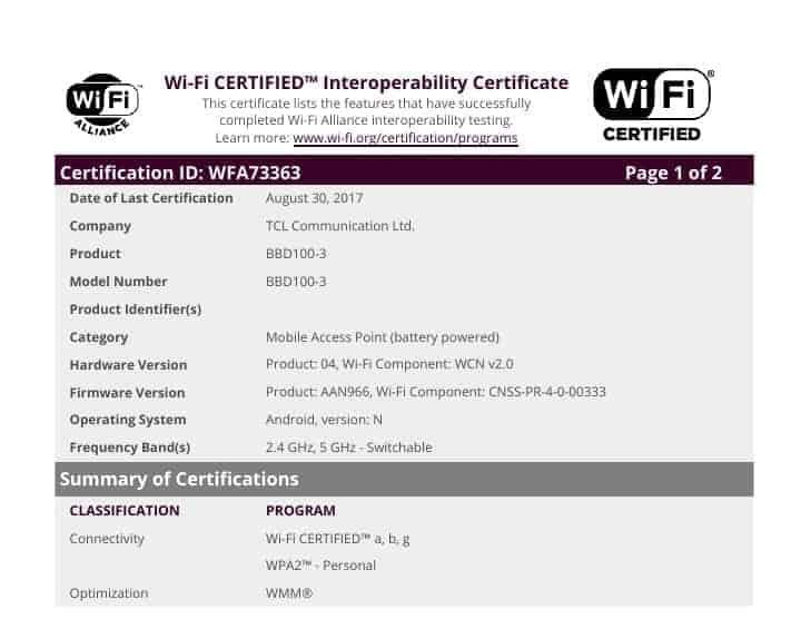 WiFi Certificate WFA73363 BlackBerry Krypton 3