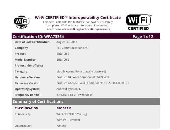 WiFi Certificate WFA73364 BlackBerry Krypton 6