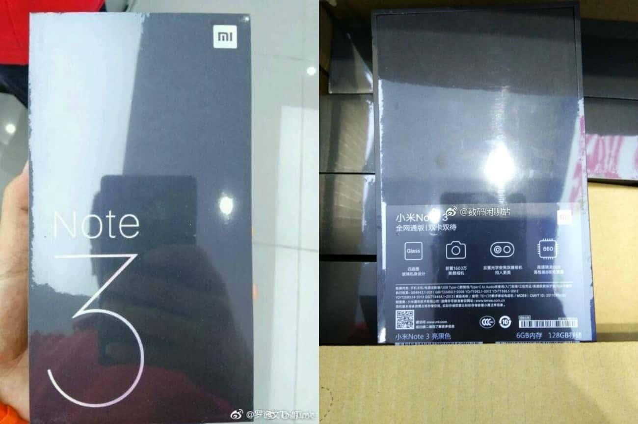 Xiaomi Mi Note 3 Packaging leak