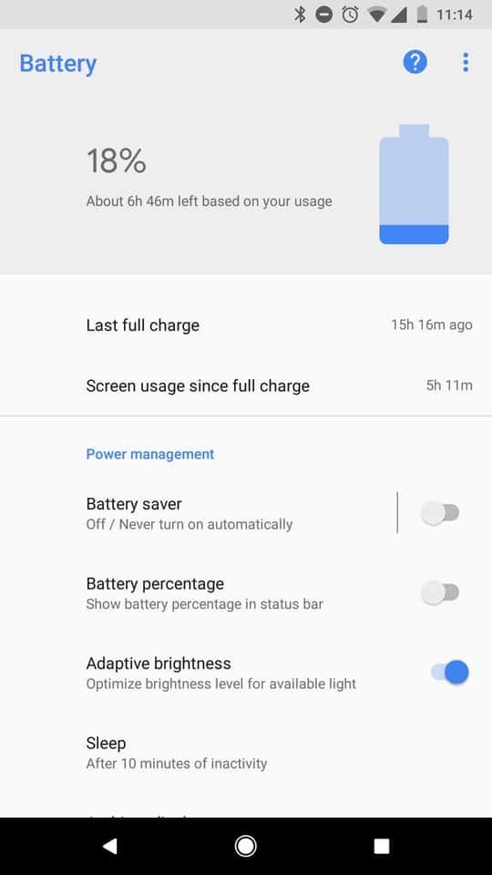 Google Pixel 2 AH NS Screenshots battery small 2