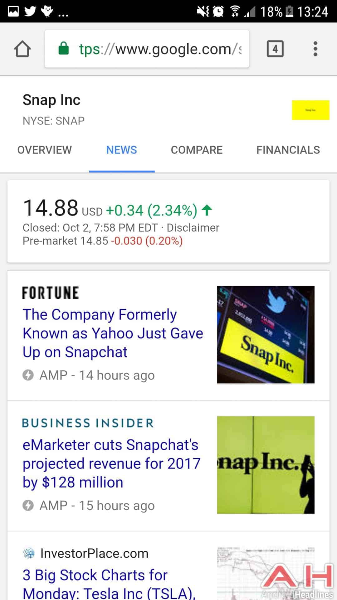 Google Search Now Boasts A Redesigned Stock Card With Tabs Android