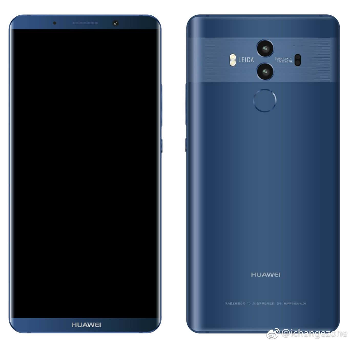 new huawei mate 10 pro renders surface thin bezels in tow android news. Black Bedroom Furniture Sets. Home Design Ideas