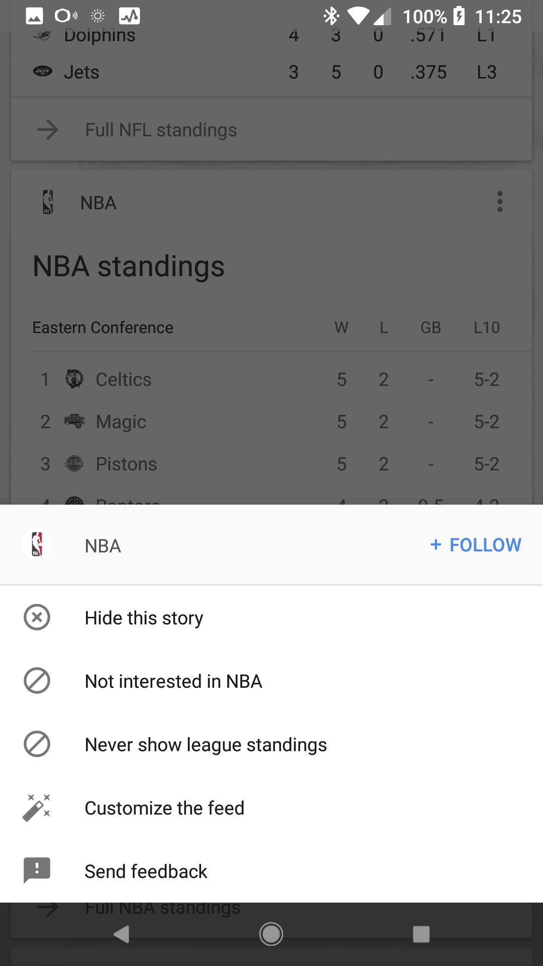 New Google app Overflow menu UI 1