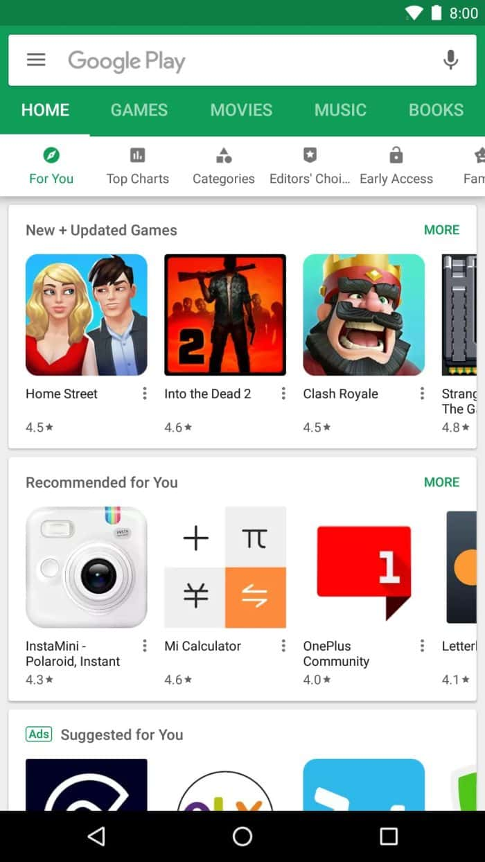 Play Store Nested Tabs 2