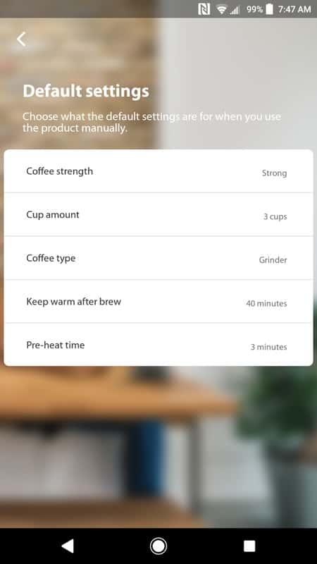Smarter Coffee AH NS app screenshots default settings