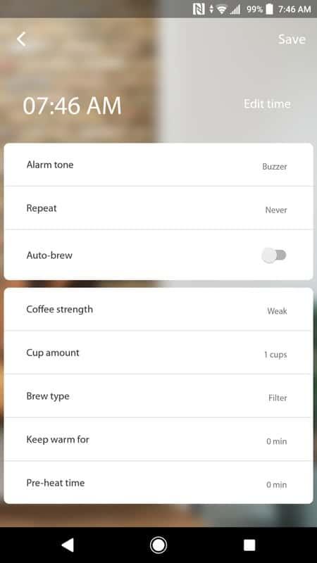 Smarter Coffee AH NS app screenshots timer