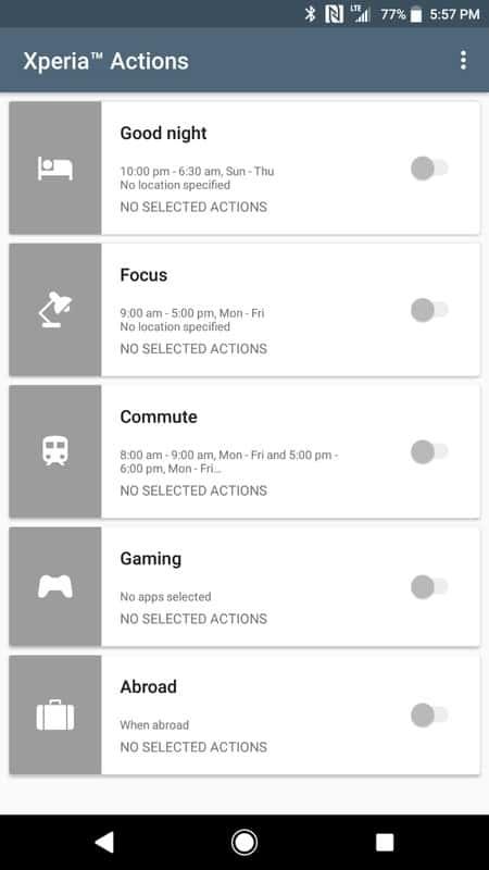 Sony Xperia XZ1 AH NS Screenshots xperia actions
