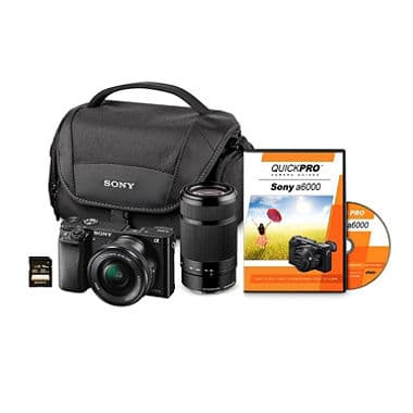 Sony A6000 24-MP 2-Lens Bundle with 16-50mm Lens & 55-210mm Lens, 32GB SD Card, and Camera Case