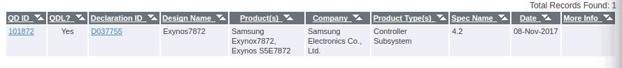 Exynos 7872 Bluetooth SIG 1