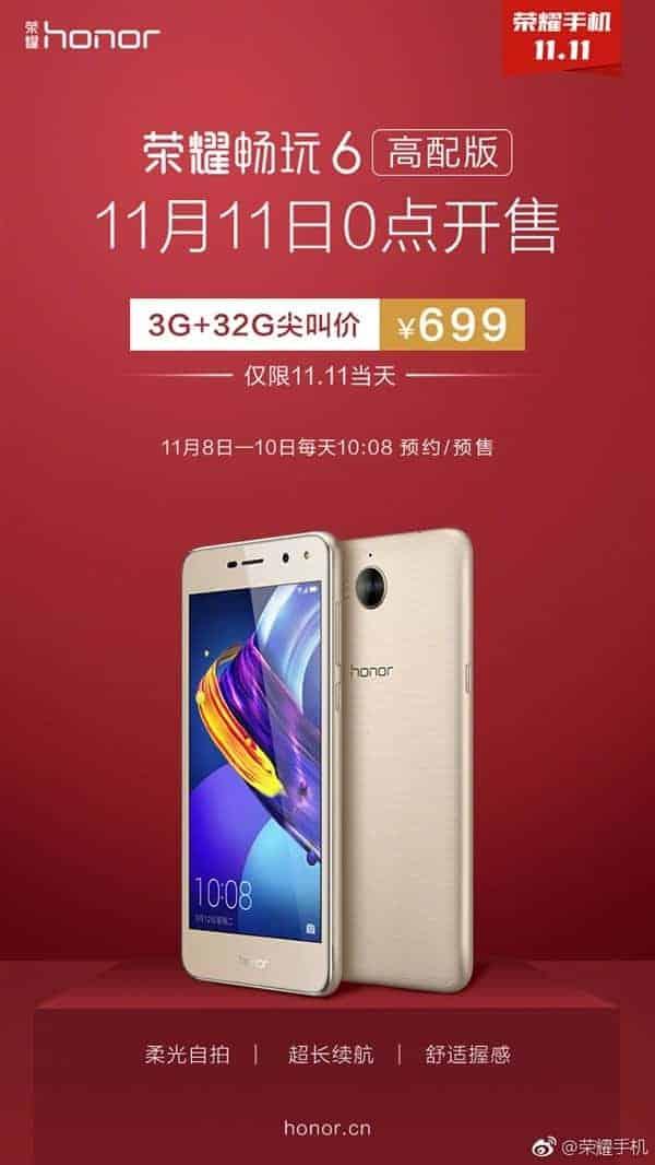 Honor Play 6 3GB RAM variant pre orders 1