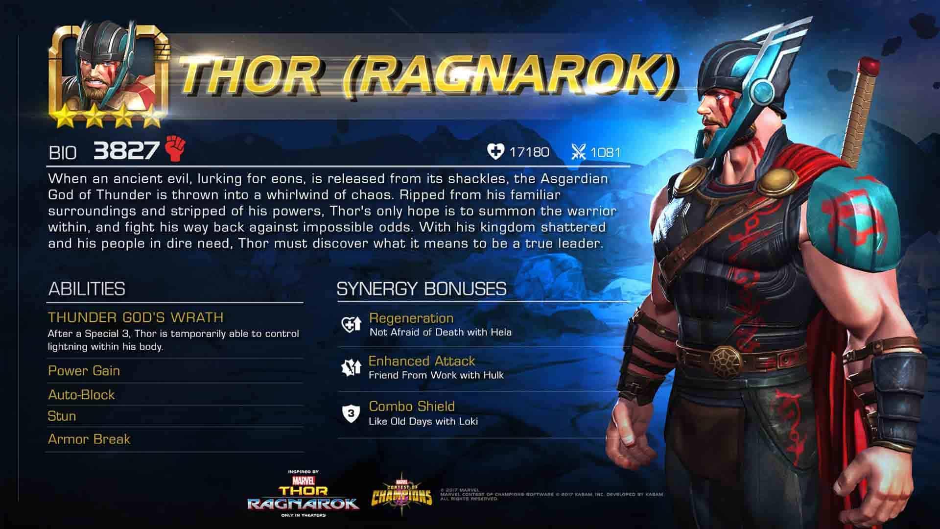 Marvel Contest Of Champions Thor Ragnarok 1 of 3