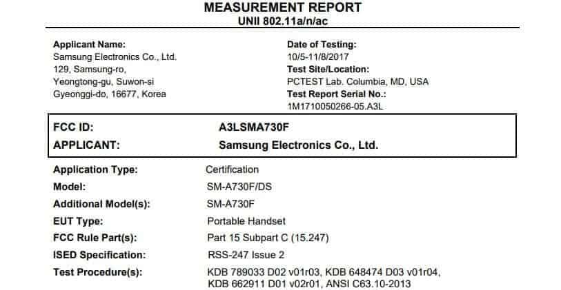 Samsung Galaxy A7 2018 FCC 2
