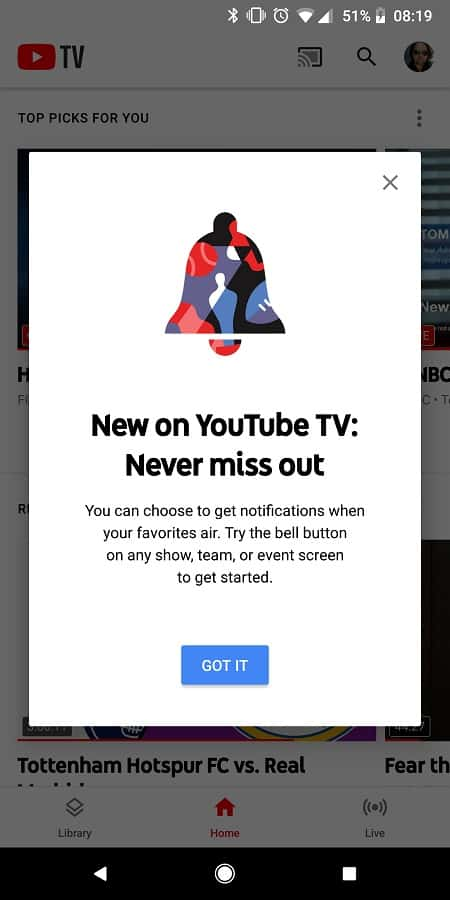 YouTube TV Notifications Screens 1
