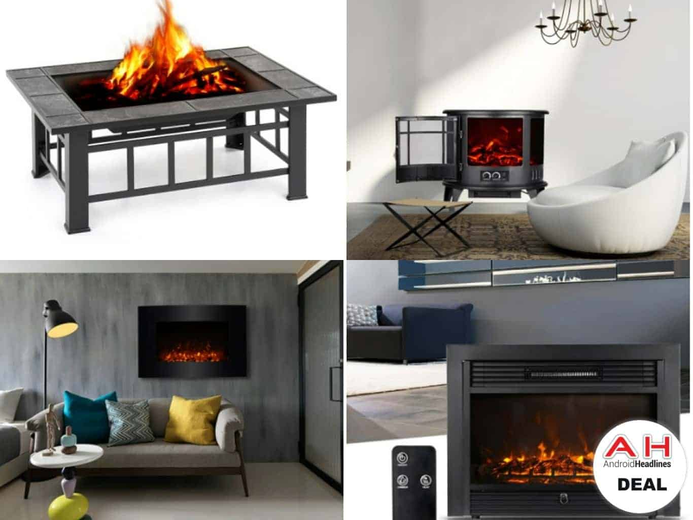 fireplace electric on ah fire androidheadlines com pit fireplaces deal tomtop backyard sale are