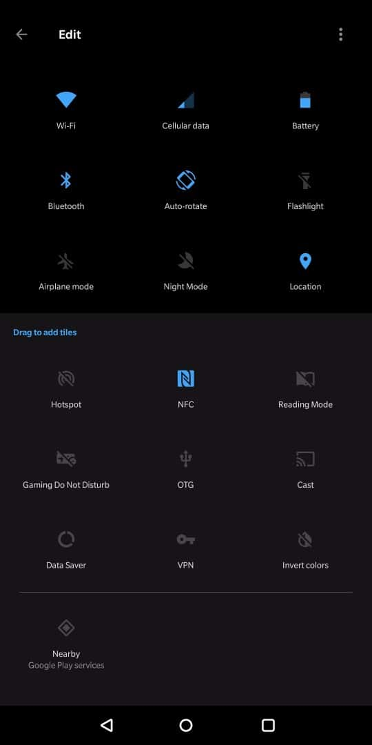 OnePlus 5T AH NS Screenshots ui quick toggles tiles