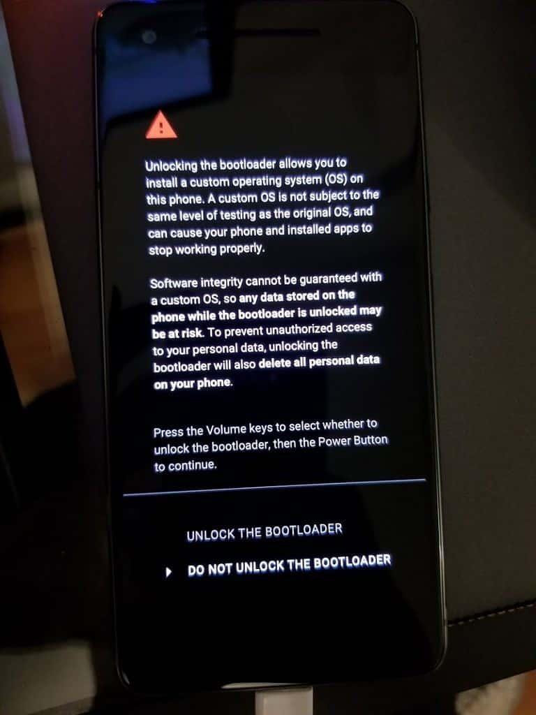 Verizon Google Pixel 2 Bootloader Unlock 1
