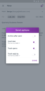 Astro Send Options Android