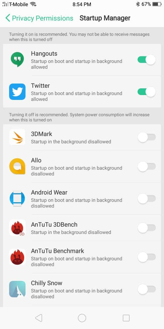 OPPO R11S AH NS Screenshots battery startup