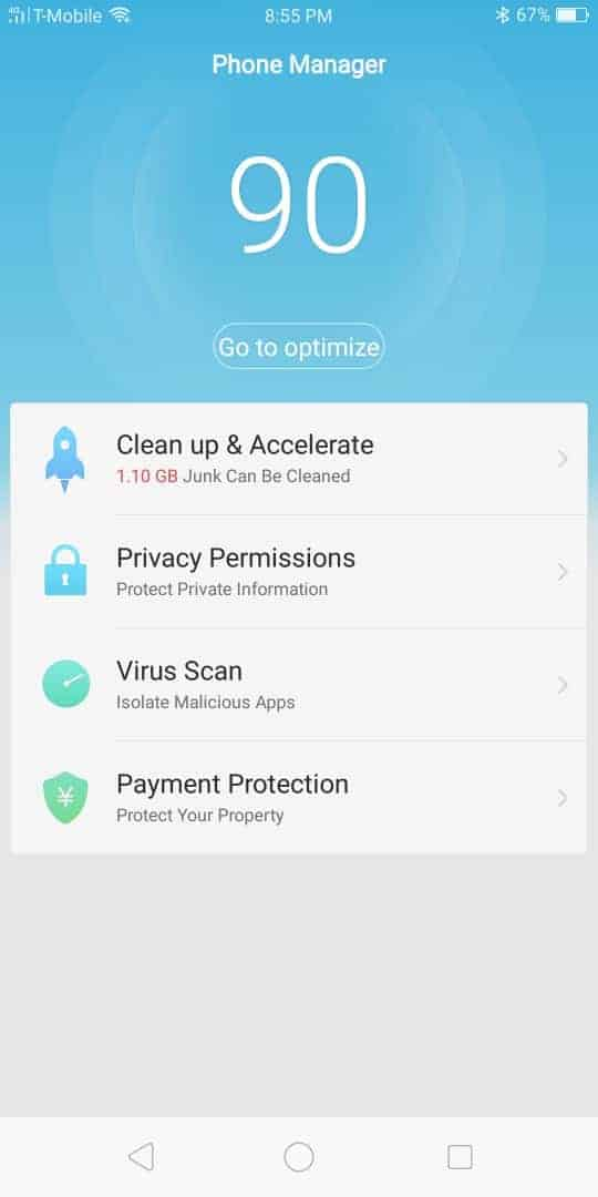 OPPO R11S AH NS Screenshots phone manager clean up