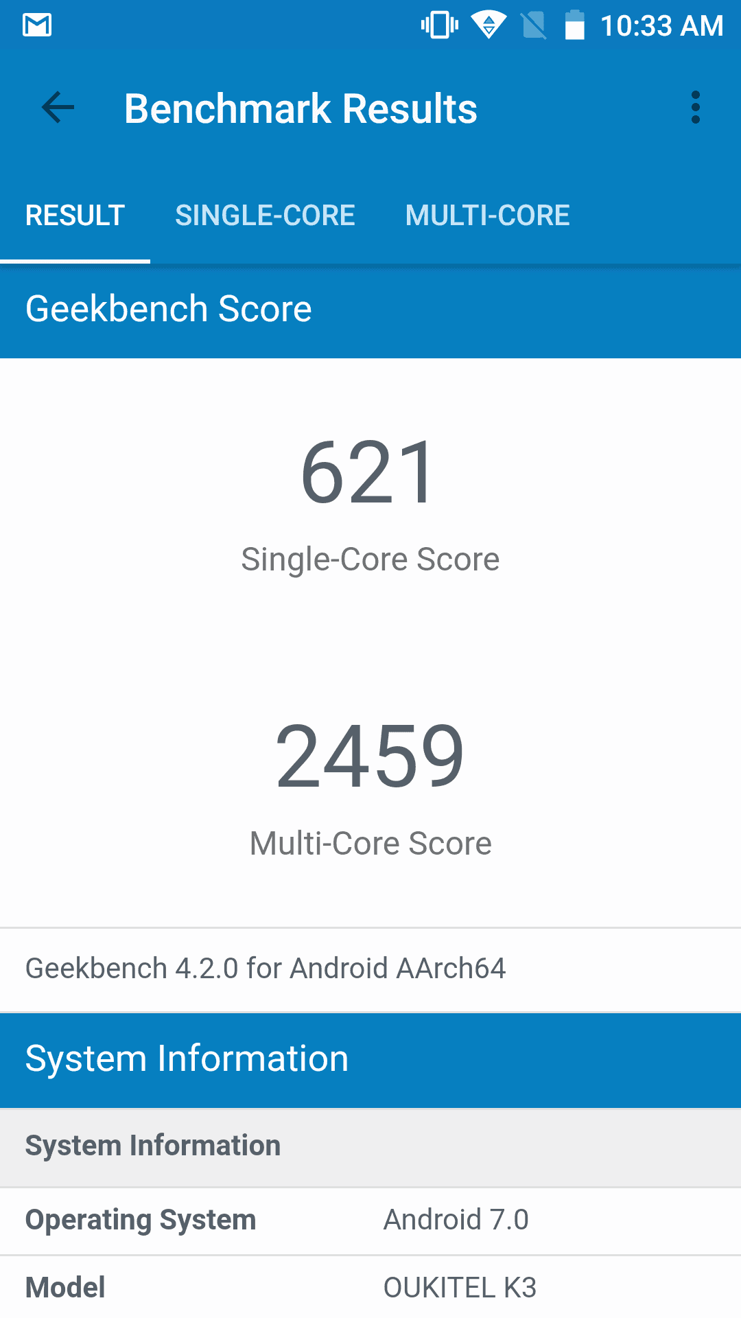 OUKITEL K3 Benchmarks 1