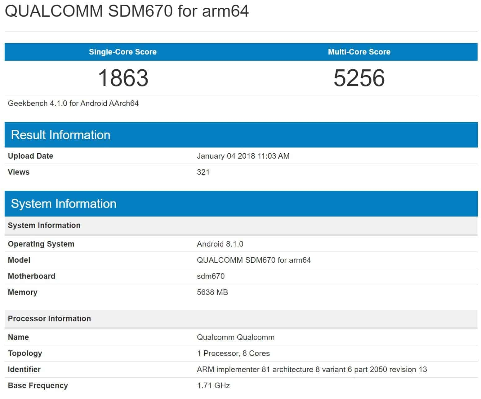 Qualcomm's Snapdragon 670 Benchmarked On Android 8.1 Oreo